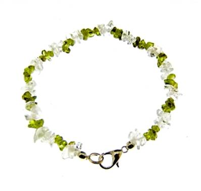 "PERIDOT WITH QUARTZ GEM CHIP BRACELET. 8"" LONG. 5g. SPR9195BR"