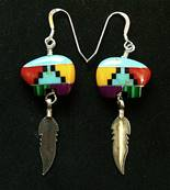 MULTI COLOURED MOSAIC 'BEAR' EARRINGS. 078E