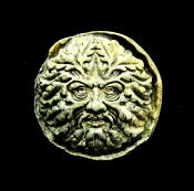 PRESELI BLUESTONE CARVED PLAQUE DEPICTING THE GREEN MAN.   SP12243POL