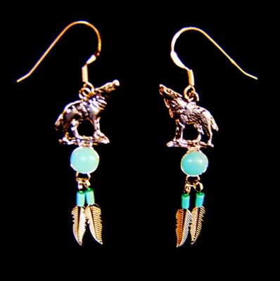 NATIVE AMERICAN SILVER WITH TURQUOISE WOLF EARRINGS.   483E