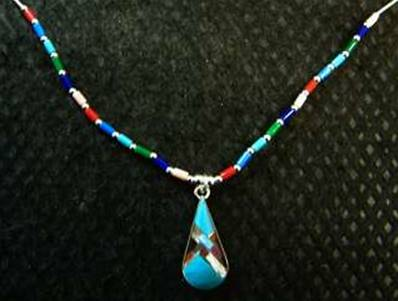 "18"" 925 SILVER CHAIN WITH TEARDROP SHAPE DROPPER PENDANT IN TURQUOISE. 489N"