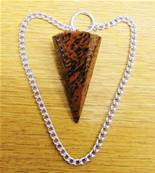 MAHOGANY OBSIDIAN FACETED POINT STYLE PENDULUM. SPR4826