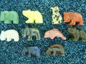 MINI ANIMAL CARVINGS SET OF 10 IN VARIOUS STONES. (MIX OF STONES MAY VARY FROM THAT ILLUSTRATED). 17