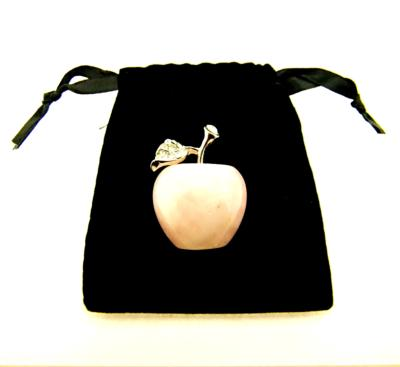 CARVING OF AN APPLE IN ROSE QUARTZ.   SPR11990POL