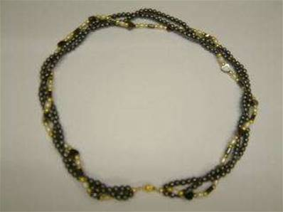 "HEMATITE NECKLACE FEATURING HEART SHAPE, GOLD & PEARL BEADS WITH LOBSTER CLASP. 18"". CYN81005"