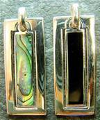 925 SILVER PENDANT FEATURING ABALONE OR BLACK ONYX. P2428