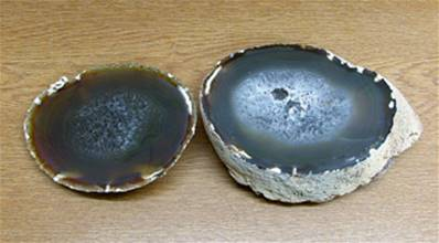 LARGE AGATE GEODE PAIR WITH POLISHED CUT FACE. SP8232SHLF