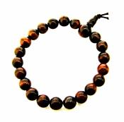 RED TIGERSEYE POWER BEAD BRACELET (ELASTICATED).   SPR9875POL