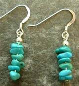 TURQUOISE PEBBLE PENDANT EARRINGS FEATURING 925 SILVER EARWIRES. 241E