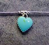 925 SILVER NECKLACE WITH HEART SHAPE PENDANT IN TURQUOISE. 499N