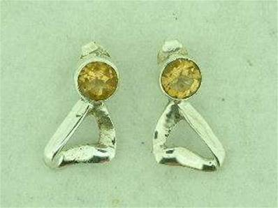 CITRINE SILVER STUD EARRINGS.15MM DROP. CAB DIA 5MM. 3g. EC2013