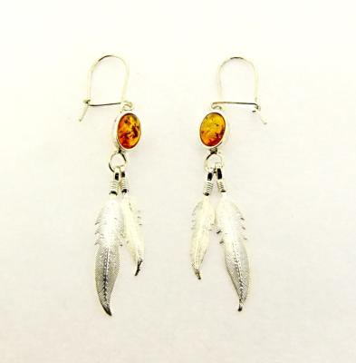 925 SILVER DESIGNER EARRINGS WITH BALTIC AMBER CABOCHONS.   SP12260ER