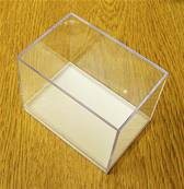 5 X PLASTIC DISPLAY BOX - WHITE BASE WITH CLEAR TOP (N3 SIZE). N3/80/55/62