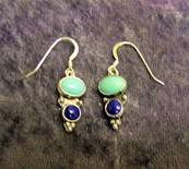 SILVER WITH TURQUOISE AND LAPIS LAZULI PENDANT STYLE EARRINGS. 630E