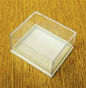 10 X  PLASTIC DISPLAY BOX - WHITE BASE WITH CLEAR TOP (E1 SIZE). E1/41/35/21