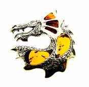 BALTIC AMBER & SILVER DRAGON PENDANT.   SP10484PEND