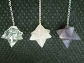 MERKABA STAR PENDULUMS ON A 925 SILVER CHAIN. STAR= 23MM ACROSS. CHAIN= 160MM LONG. 8g. SPR981