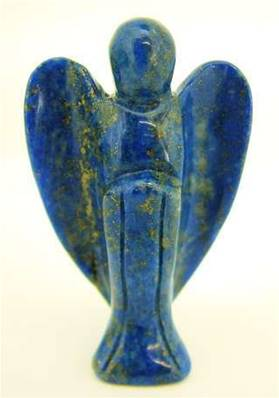ANGEL CARVING IN LAPIS LAZULI.   SPR2975POL