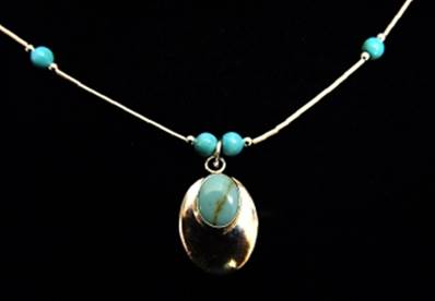 NATIVE AMERICAN SILVER WITH TURQUOISE PENDANT NECKLACE. 027NT