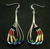 MULTI COLOURED BAMBOO & BEAD THREE STRAND EARRINGS. 431E