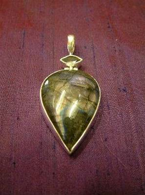 Labradorite with facet Black/Green Tourmaline Indian Silver pendant.   PURJEW34