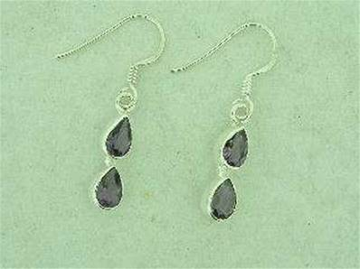 AMETHYST DOUBLE TEAR DROP 925 SILVER EARRINGS. 20 MM DROP. EA1078
