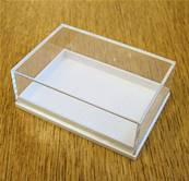 10 X PLASTIC DISPLAY BOX - WHITE BASE WITH CLEAR TOP (P1 SIZE). P1/59/41/21