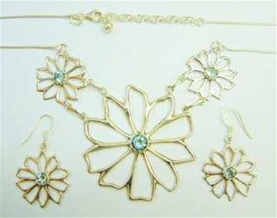 ONE OFF 925 SILVER FLOWER DESIGN NECKLACE & EARRING SET. SP2983JSET