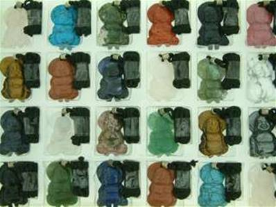 GEMSTONE 'MINI' BUDDA CARVING PENDANTS SUPPLIED WITH A BLACK THONG. 33 X 21 X 6MM APROX. 5 - 15g.
