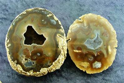 BRAZILIAN AGATE POLISHED FACE GEODE PAIR. SP7026POL