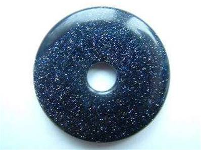 LARGE BLUE GOLDSTONE GEMSTONE DONUTS/ PI STONES. DO42BGS