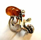 BALTIC AMBER WITH SILVER RING & NECKLACE SET.   SP10485RNG/PEND