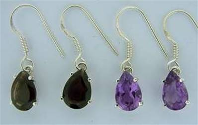 925 SILVER PENDANT EARRINGS FEATURING AMETHYST OR SMOKEY QUARTZ. SPR1638