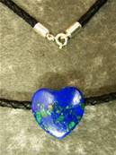 "AZURITE & MALACHITE HEART ON 16"" COTTON CORD. 10g. SPR1881"