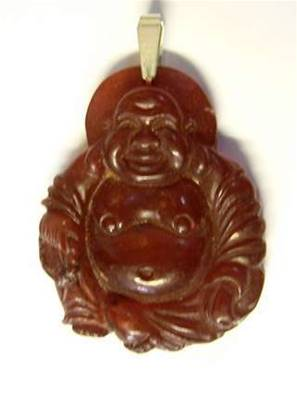 BURNT JADE CARVED BUDDA PENDANT. SP1199PEND