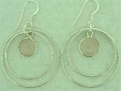 925 SILVER HOOP STYLE EARRINGS FEATURING A ROSE QUARTZ CAB. 30MM DROP. CAB SIZE 10MM DIA. ERQ2362