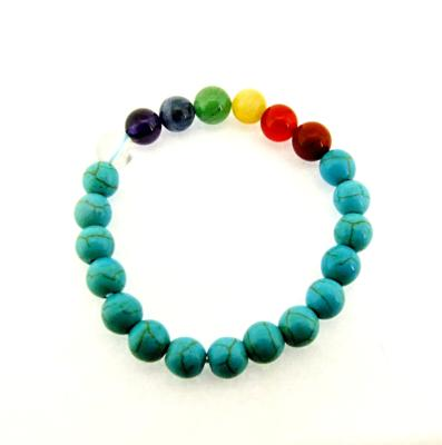 RECONSTITUTED TORQUOISE CHAKRA POWER BEAD BRACELET.   SPR12386