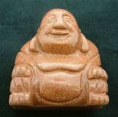 BROWN GOLDSTONE BUDDA CARVING. SPR4007POL
