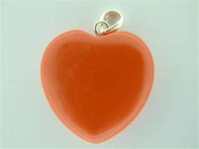 RED CORAL HEART SHAPED PENDANT COMPLETE WITH SILVER BAIL. 32MM DROP INC BAIL X 25MM WIDE. 4g.