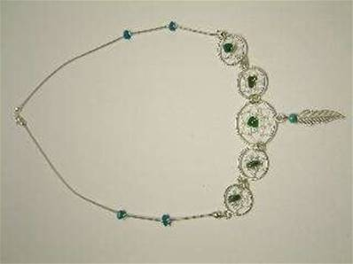 TURQUOISE & SILVER DREAM CATCHER NECKLACE. 717N