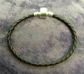 "WOVEN LEATHER 7.5"" PANDORA STYLE BRACELET FOR CHARM BEADS. 36170123"