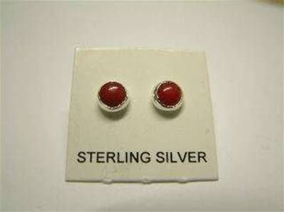 925 SILVER WITH RED CORAL STUD EARRINGS. RDCORER