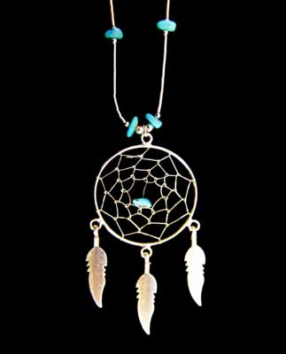 NATIVE AMERICAN SILVER WITH TURQUOISE DREAMCATCHER NECKLACE.   095N