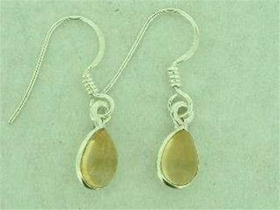 925 SILVER TEARDROP SHAPE EARRINGS WITH A CITRINE CAB. CAB SIZE 8 X 5MM 12MM DROP. EC1207