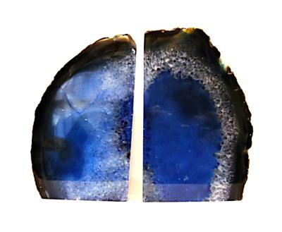 AGATE BOOKEND PAIR COLOURED BLUE.   SP11495POL