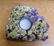 AMETHYST DRUZE SINGLE TEA LIGHT HOLDER. SP8396SHLF