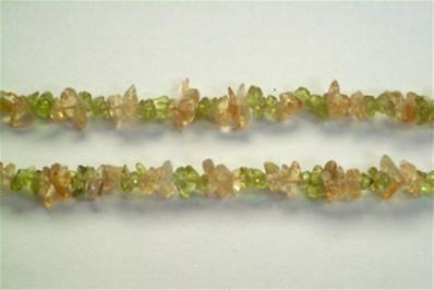 "PERIDOT WITH CITRINE GEM CHIP BRACELET. 7"" LONG. 8g. SPR647"