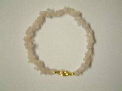"ROSE QUARTZ CHIP BRACELET WITH CLASP. 8"" APROX. 10g. RQTZBRLET"