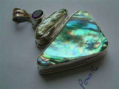 ABALONE SHELL FRESH WATER PEARL & AMETHYST DESIGNER PENDANT PEND14