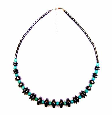 HEMATITE WITH TURQUOISE BEAD NECKLACE.   SPR10401
